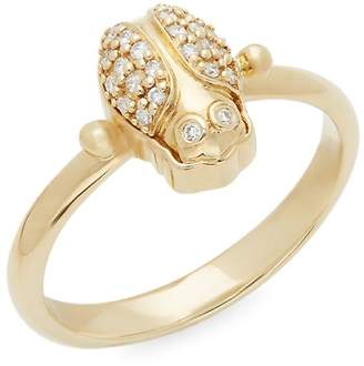 Temple St. Clair Women's Diamond and 18K Yellow Gold Scarab Ring
