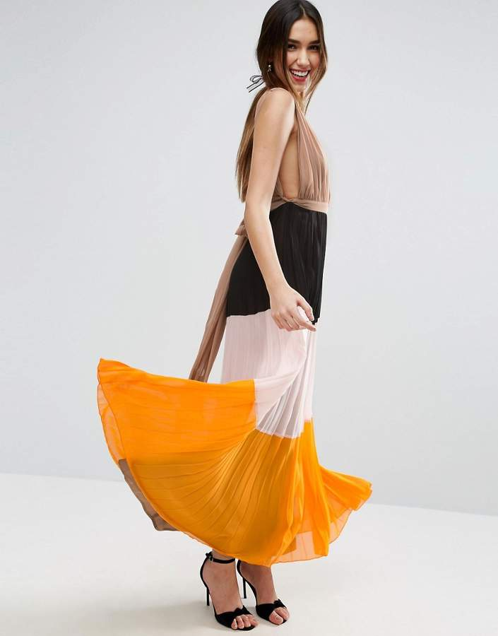 Asos ASOS Pleated Plunge Color Block Maxi Dress