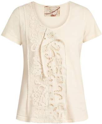 BY WALID Jodie lace-insert cotton T-shirt