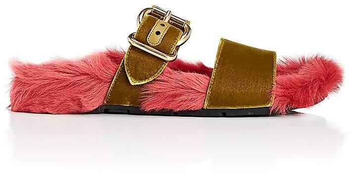 Prada Women's Fur & Velvet Slide Sandals