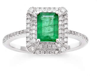FINE JEWELRY Womens 1/3 CT. T.W. Genuine Emerald 14K Gold Cocktail Ring
