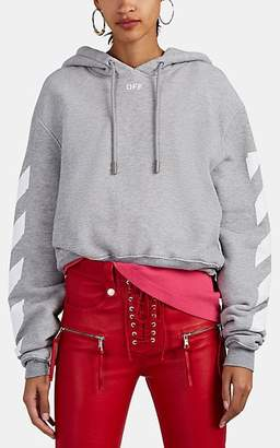Off-White Women's Logo Cotton-Blend French Terry Hoodie - Light Gray