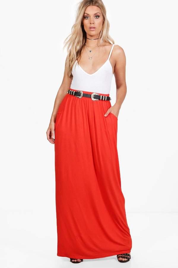 boohoo Plus Rae Pocket Front Jersey Maxi Skirt