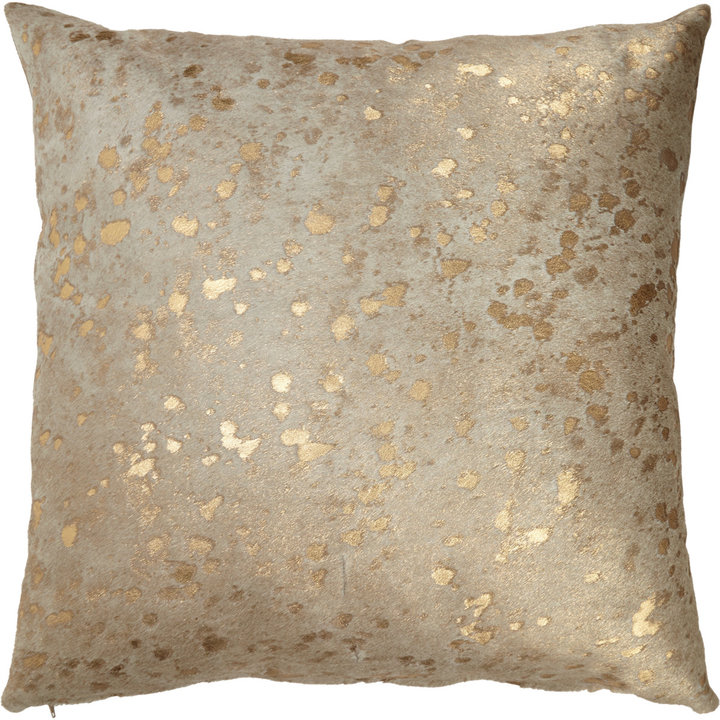 Barneys New York Gold-Spotted Haircalf Pillow