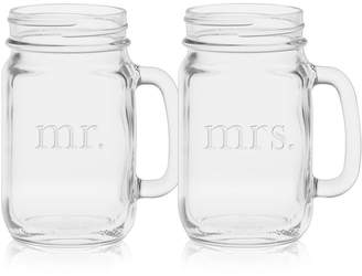 Culver Mr. & Mrs. Mason Jar Glasses, Set of 2
