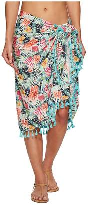 San Diego Hat Company BSS1814 Woven Tropical Print Sarong Cover-Up Scarves