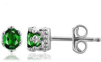 FINE JEWELRY Green Chrome Diopside Sterling Silver 4.1mm Stud Earrings