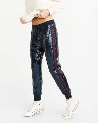 Abercrombie & Fitch Navy Sequin Joggers