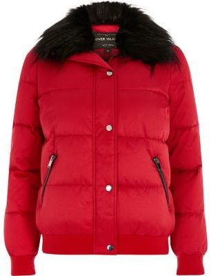 River IslandRiver Island Womens Red faux fur trim puffer jacket