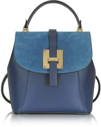 Le Parmentier Palazia Midnight Blue Suede and Leather Small Backpack