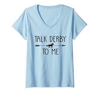 Jockey Womens Talk Derby To Me Funny Horse Owner Lover Gift V-Neck T-Shirt