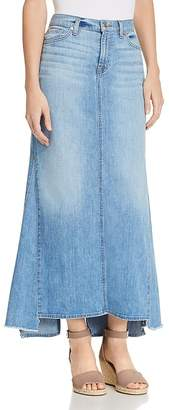 7 For All Mankind Denim Maxi Skirt in Bright Blue Jay