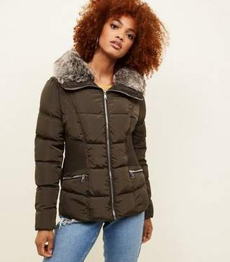 New Look Khaki Faux-Fur Collar Cinched Waist Puffer Jacket