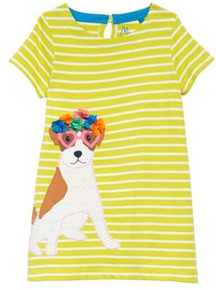 Boden Mini Dog Applique Striped Jersey Dress