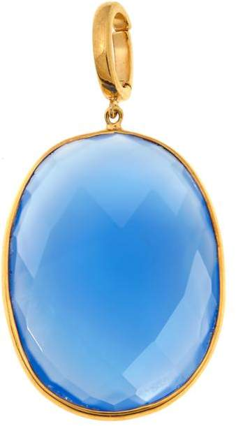 Argentovivo Argento Vivo Blue Chalcedony Gold-Plated Enhancer Pendant
