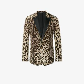 Dolce & Gabbana Mens Brown Leopard Print Luxurious Blazer, Size: 48