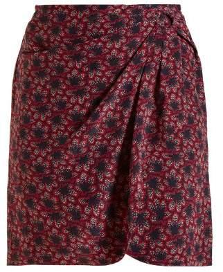 Isabel Marant Livia Crepe Leaf Print Ruffle Skirt - Womens - Navy Multi