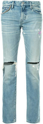 Hysteric Glamour ripped straight jeans
