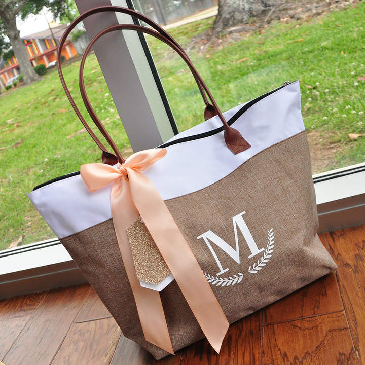 Etsy Bridesmaid Tote Personalized (Qty. 1). Bridesmaid Zipper Bag. Monogram Tote Bag. CstRT.