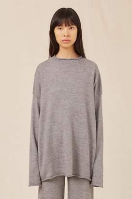 Mansur Gavriel Alpaca Silk Oversized Funnel Neck - Grey Melange