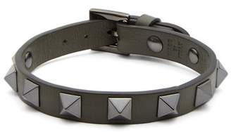 Valentino Rockstud Embellished Leather Bracelet - Mens - Khaki
