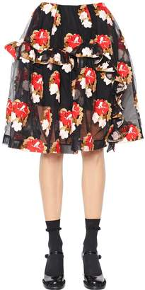 Simone Rocha Ruffled Floral Embroidered Tulle Skirt