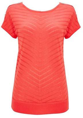 Wallis Coral Striped Short Sleeve Jumper