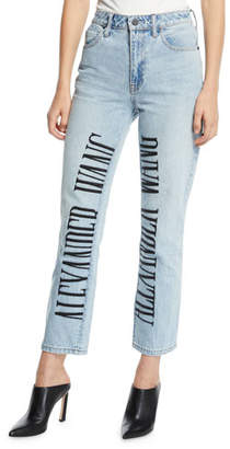 Alexander Wang Cult High-Rise Straight-Leg Jeans w/ Embroidered Logo