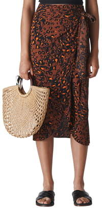 Whistles Brushed Leopard Print Sarong Skirt