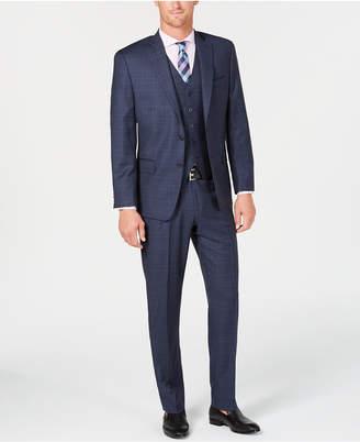 Michael Kors Men's Classic/Regular Fit Natural Stretch Blue Check Vested Wool Suit