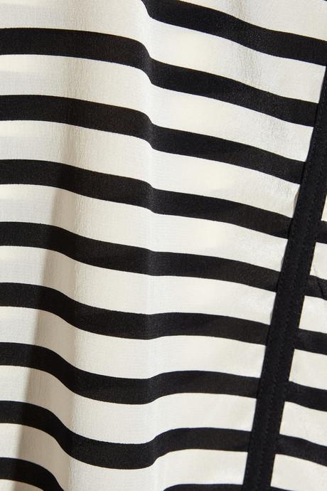 DKNY Striped stretch-silk crepe de chine blouse