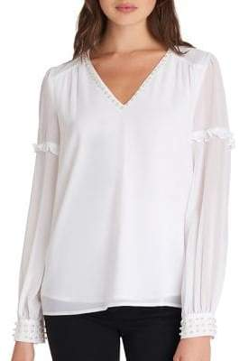 Karl Lagerfeld Paris Long Sleeve Embellished Blouse