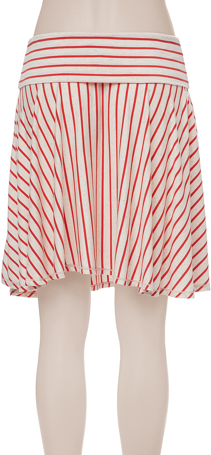 Max Studio Striped And Flared Skirt
