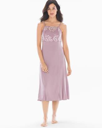 Cool Nights High Neck Nightgown with Lace Elderberry