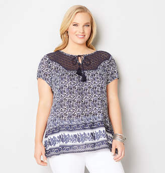 Avenue Crochet Yoke Peasant Top