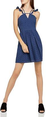 BCBGeneration Strappy Eyelet Fit-and-Flare Dress