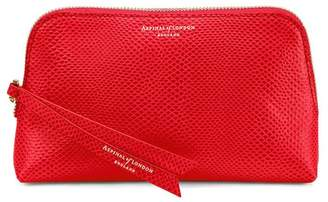 Aspinal of London Small Essential Cosmetic Case In Berry Lizard