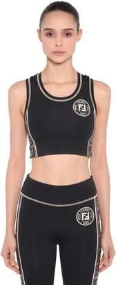 Fendi Lycra Crop Top W/ Logo Side Bands