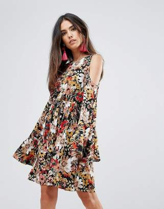 Club L Printed Skater Dress With Flute Sleeves