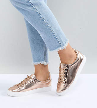 Lost Ink Wide Fit Rose Gold Metallic Sneakers