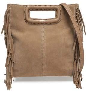 Maje M Leather-Trimmed Fringed Suede Shoulder Bag