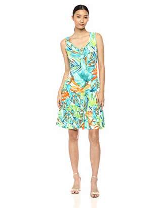 MSK Women's Daytime Flounce Dress with an All Over Leaf Print