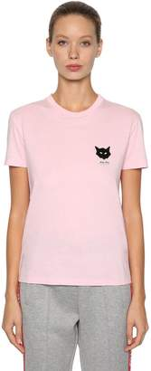 Miu Miu Cat Sequined Patch Cotton T-Shirt