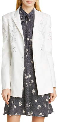 Rebecca Taylor Tailored By Eyelet Embroidery Linen Blend Blazer