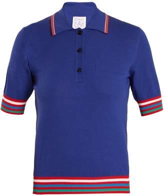 Stella Jean Contrast-striped knit polo shirt