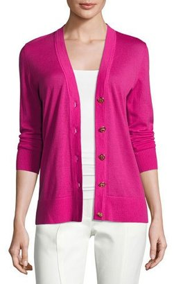 Tory Burch Simone Button-Front Wool Cardigan, Bright Pink $225 thestylecure.com