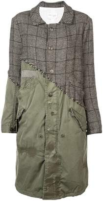 Greg Lauren contrast distressed trench coat