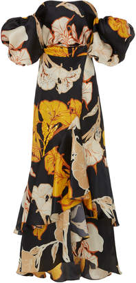 Johanna Ortiz Cosmic Origin Puff Sleeve Silk Gown