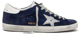 Golden Goose Super Star Low Top Suede Trainers - Mens - Blue