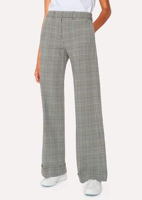 Paul Smith Women's Black And White Check Cotton Wide Leg Trousers